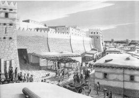 Reconstitution de Troie VI, avec la porte Sud, appelée porte Scée par Homère. Depuis la porte de guet, la vue s'étend sur les plaines de la rivière Scamandre, sur lesquelles, d'après Homère, des combats eurent lieu pendant10 ans.