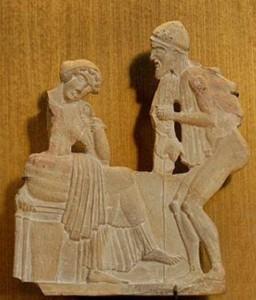 Ulysse déguisé en mendiant cherche à se faire reconnaître de Pénélope, reliefen terre cuite de Milo, v. 450 av. J.-C., musée du Louvre