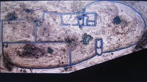 Vue en élévation du site, emplacements des murs
